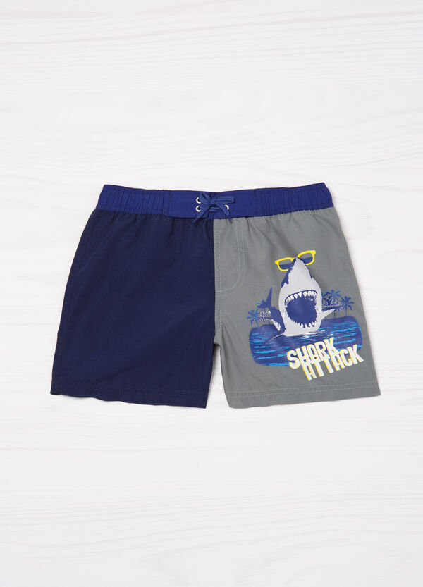 Two-tone printed swim boxer shorts | OVS