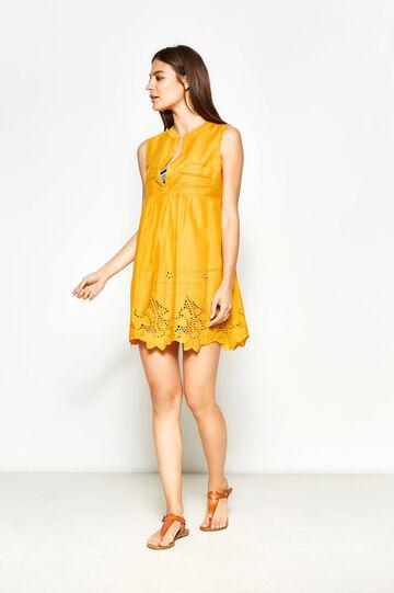 Kaftan with openwork design, Ochre Yellow, hi-res