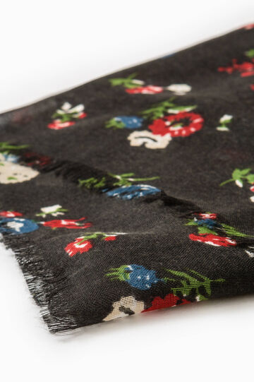 Floral pattern scarf, Black, hi-res