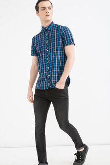Cotton shirt with check pattern, Blue, hi-res