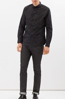 Patterned shirt in 100% cotton, Dark Grey, hi-res