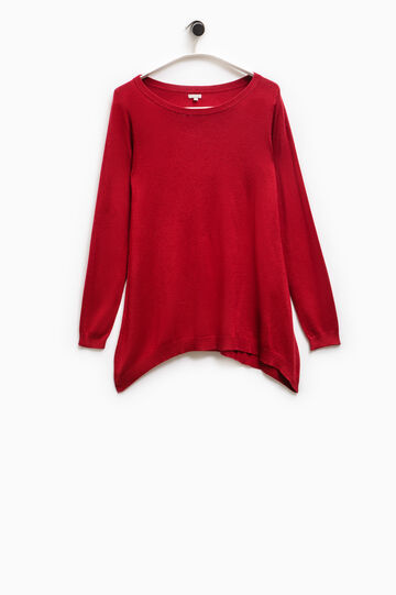 Boat neck Smart Basic pullover, Red, hi-res
