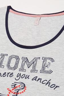 Cotton pyjama top with print, Grey Marl, hi-res