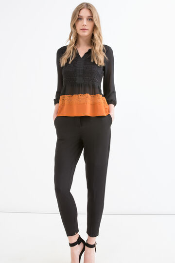 Blouse with lace insert in contrasting colour, Black, hi-res