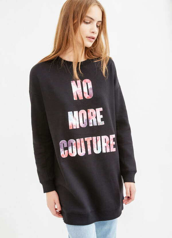 Long cotton sweatshirt with printed lettering | OVS