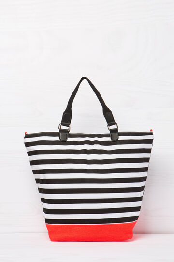 Striped cotton handbag, Black, hi-res