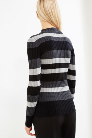 Wool and cotton ribbed pullover., Black, hi-res