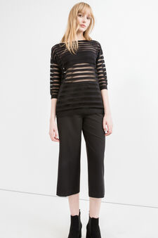 Pullover with semi-sheer inserts, Black, hi-res