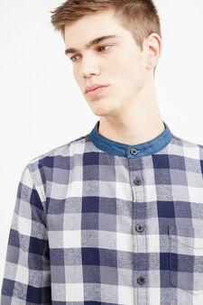 Camicia casual cotone collo alla coreana, Blu/Grigio, hi-res