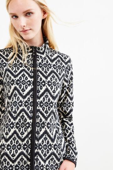 Patterned fleece sweatshirt with zip, White/Black, hi-res