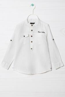 Camicia misto lino tinta unita, Bianco, hi-res