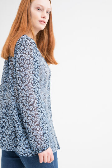 Curvy patterned blouse, Blue, hi-res