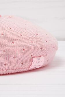 Diamanté beret in cotton, Pink, hi-res