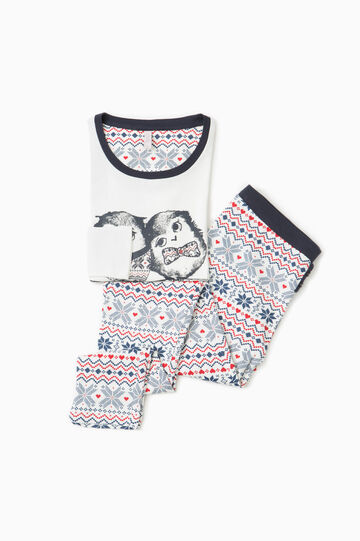 100% cotton pyjamas with owl print, Cream White, hi-res