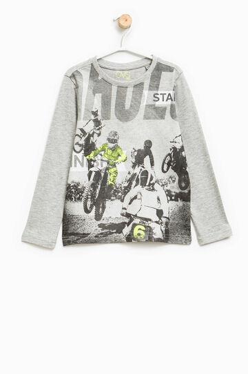 T-shirt puro cotone maxi stampa, Grigio chiaro melange, hi-res