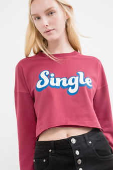 Cotton crop sweatshirt with printed lettering, Red, hi-res