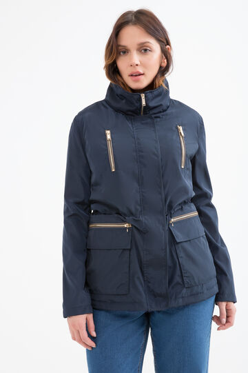 Curvy parka with zipper pockets., Navy Blue, hi-res