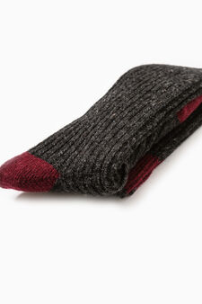 Long socks in stretch wool blend, Grey Marl, hi-res