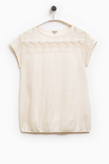 T-shirt ricami floreali Smart Basic, Crema, hi-res