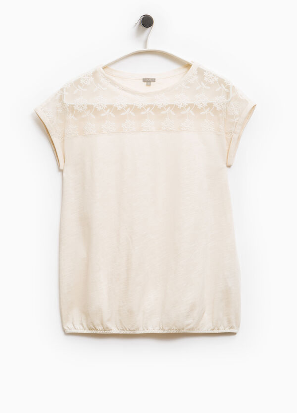 Smart Basic T-shirt with floral embroidery | OVS
