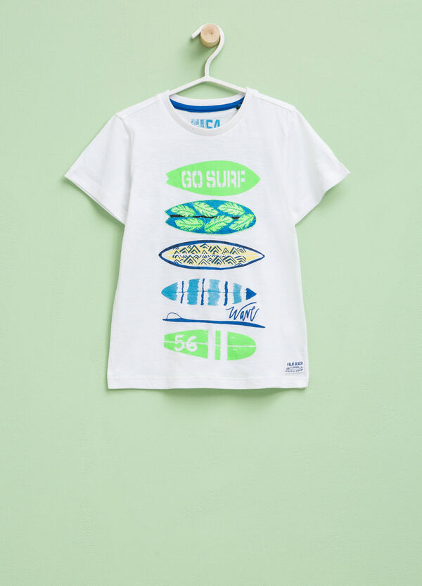 Cotton T-shirt with print and embroidery | OVS
