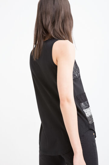 Cotton blend top with sequins, Black/Grey, hi-res