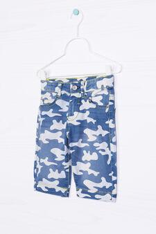 Camouflage patterned denim shorts, Denim, hi-res