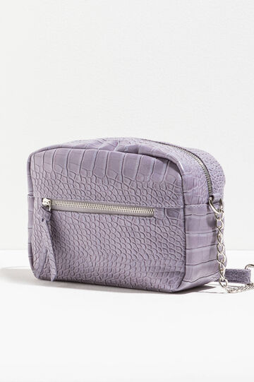 Shoulder bag with crocodile texture, Lilac, hi-res