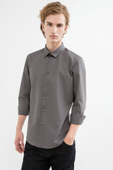 Slim-fit casual shirt in cotton blend, Light Grey, hi-res