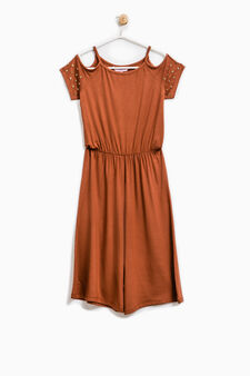 Stretch viscose playsuit, Brown, hi-res