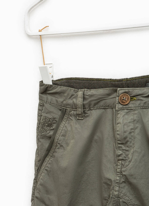 Cargo chino Bermuda shorts with embroidery | OVS