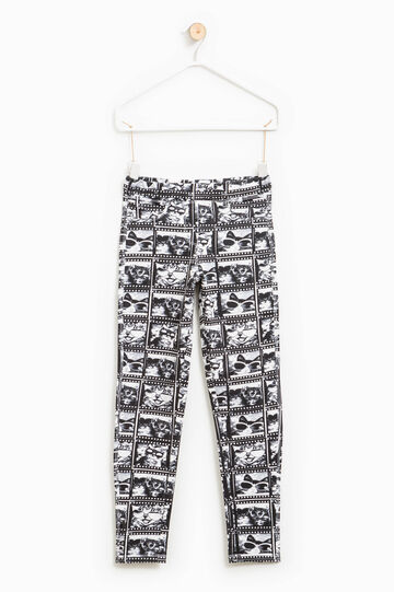 Cotton trousers with all-over print, White/Black, hi-res