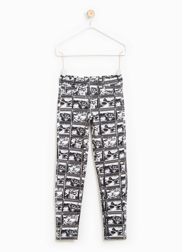 Cotton trousers with all-over print | OVS
