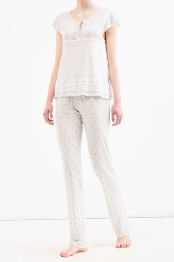 Viscose pyjamas with lace, Grey Marl, hi-res