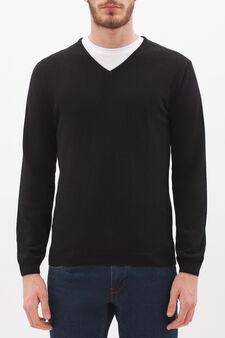V-neck pullover in silk and cashmere, Black, hi-res