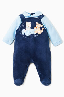 Winnie the Pooh velour onesie, Blue/Light Blue, hi-res