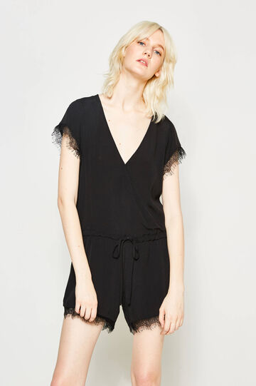 Playsuit with drawstring and lace