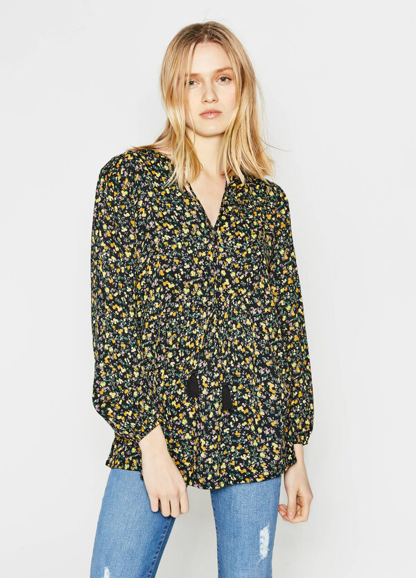 Blouse with tassels and floral print | OVS