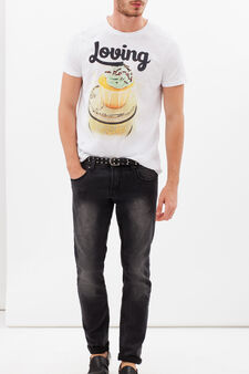 T-shirt puro cotone con stampa, Bianco sporco, hi-res