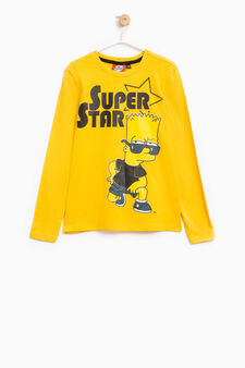 T-shirt cotone stampa The Simpsons, Giallo, hi-res