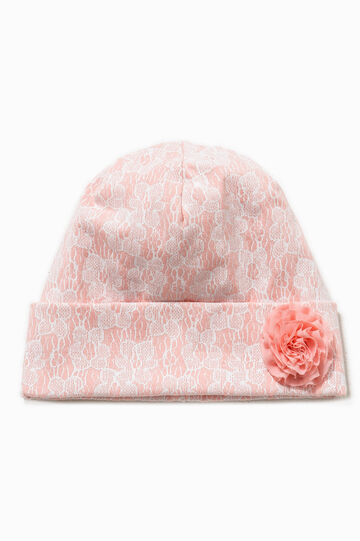 Floral beanie cap with flower, White/Pink, hi-res