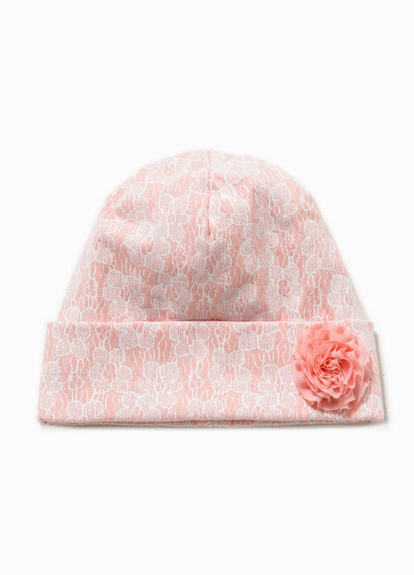 Floral beanie cap with flower | OVS