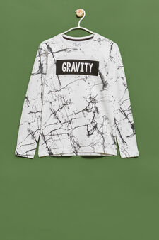 Long-sleeved printed cotton T-shirt, Chalk White, hi-res
