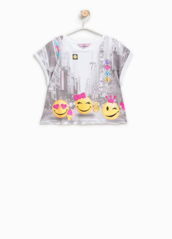 Cotton round neck T-shirt with print | OVS