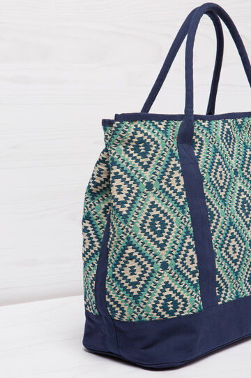 Patterned cotton shoulder bag, Aqua Blue, hi-res