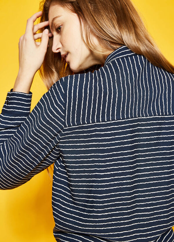Striped crop shirt with knotted hem | OVS