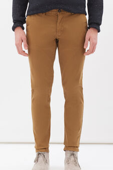 Stretch cotton chinos, Ochre Yellow, hi-res