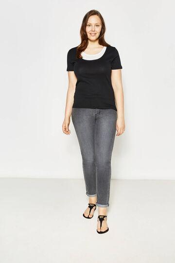 Curvy faux layered cotton T-shirt