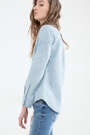 Patterned denim shirt, Denim, hi-res