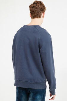 Mis-dyed effect cotton blend sweatshirt, Blue, hi-res